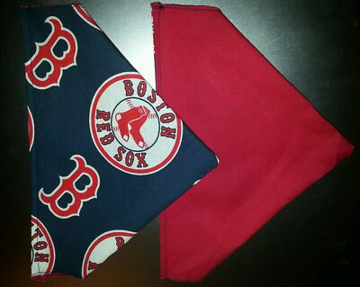 BOSTON RED SOX MLB (BASEBALL) HANDMADE 2 SIDED DOG SCARF(PICK SIZE)