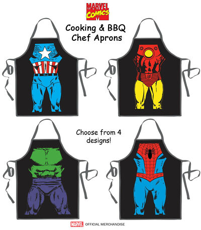 MARVEL COMICS Licensed Superhero Cooking BBQ Grilling Kitchen Cleaning Aprons