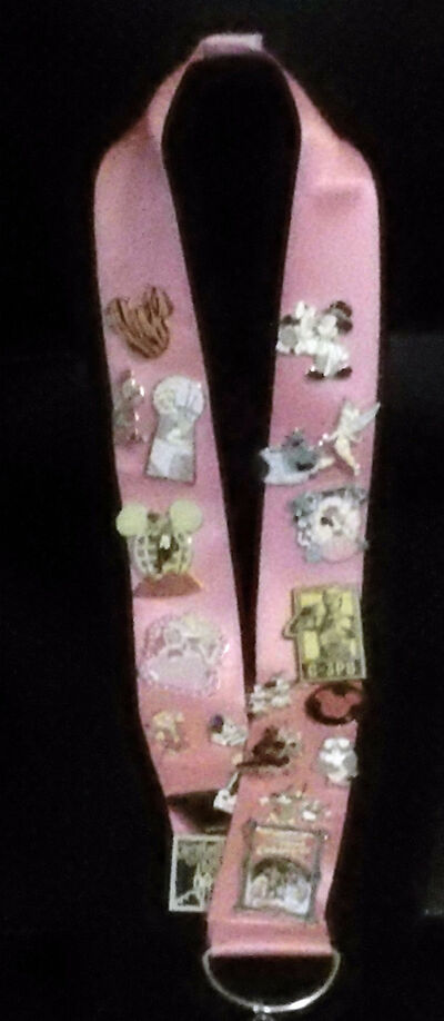 "DISNEY PINK LANYARD 2 "" WIDE  39"" LONG 10% DONATION FOR BREAST CANCER RESEARCH"