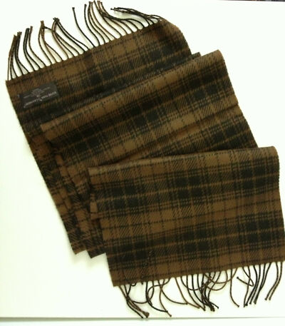 NEW Cashmere Feel Light and Dark Brown Plaid Scarf