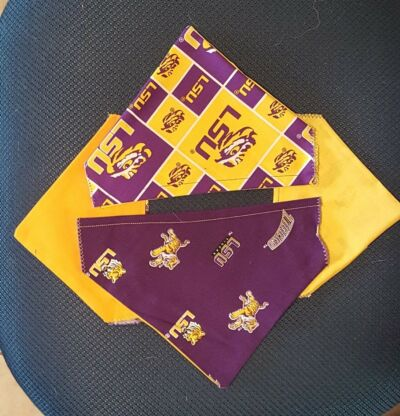 LOUISIANA STATE UNIVERSITY (LSU) 2 SIDED HOMEMADE DOG SCARF (PICK SIZE)