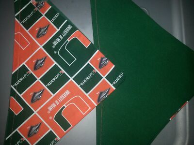UNIVERSITY OF MIAMI HOMEMADE 2 SIDED DOG SCARF (PICK SIZE)