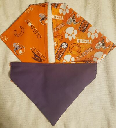 CLEMSON UNIVERSITY HOMEMADE 2 SIDED DOG SCARF (PICK SIZE)