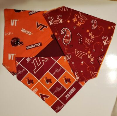 VIRGINIA TECH COLLEGE (HOKIES) HOMEMADE 2 SIDED DOG SCARF (PICK SIZE)