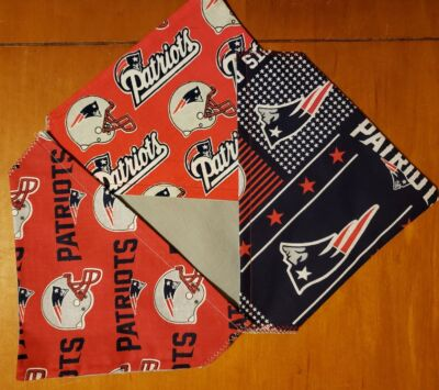 NEW ENGLAND PATRIOTS NFL HOMEMADE 2 SIDED DOG SCARF (PICK SIZE)