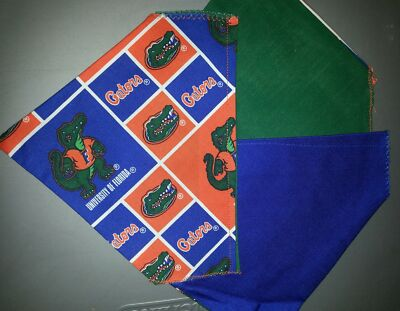 UNIVERSITY OF FLORIDA GATORS HOMEMADE 2 SIDED DOG SCARF (PICK SIZE)