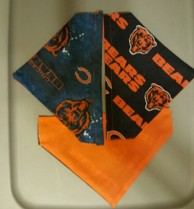 CHICAGO BEARS  NFL HOMEMADE 2 SIDED DOG SCARF  (PICK SIZE)
