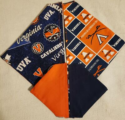UNIVERSITY OF VIRGINIA HOMEMADE 2 SIDED DOG SCARF (PICK SIZE)