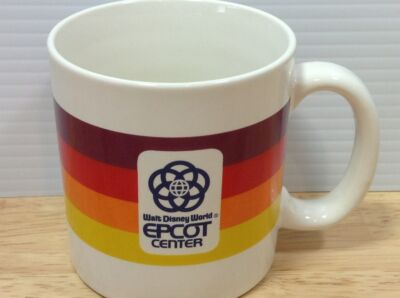 Epcot Center Coffee Mug Rainbow Stripe Walt Disney World Park VTG 1980s Japan