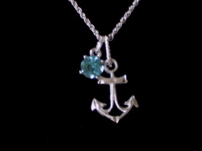 New Genuine Blue Topaz and .925 Sterling Silver Anchor Charm Necklace Rope Chain