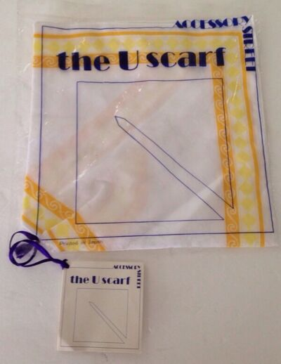 ACCESSORY STREET THE U SCARF JAPAN NEW IN PACKAGE WHITE YELLOW ORANGE
