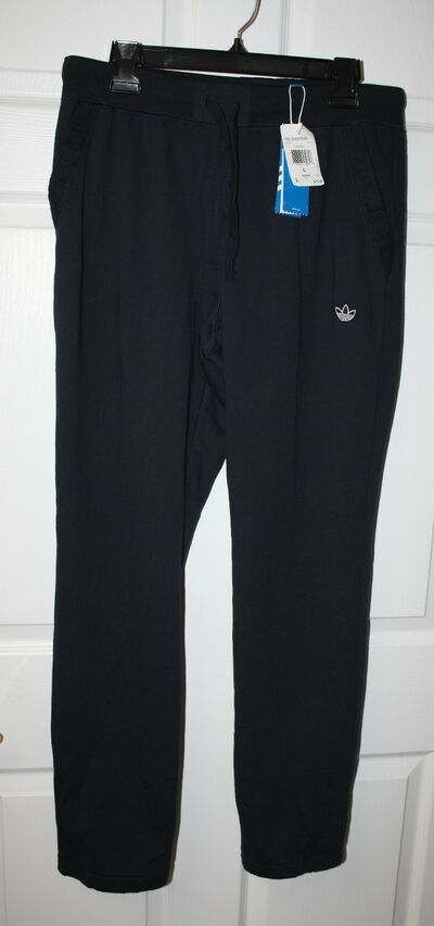 Mens NWT Adidas Navy PBS Draw String 100% Cotton Sweatpants Size Large