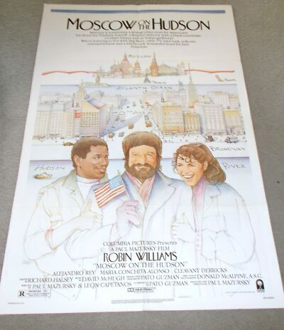 """ROBIN WILLIAMS ORIGINAL MOVIE THEATRE POSTER, """"MOSCOW ON THE HUDSON"""""""