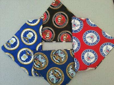 DOG SCARF MILITARY, NAVY, ARMY, MARINES, AIR FORCE HOMEMADE 2 SIDED (PICK SCARF)