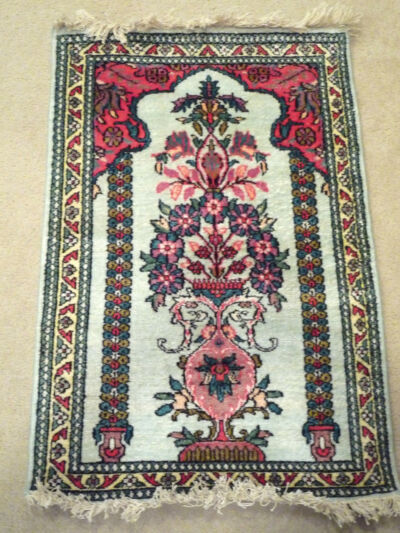 "HANDMADE WOOL RUG IMPORTED FROM INDIA  3'4"" x 2' (40x24 in)"