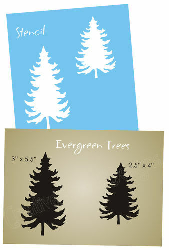 STENCIL Rustic Mountain Evergreen Spruce Tree Lodge Decor Country Cabin signs