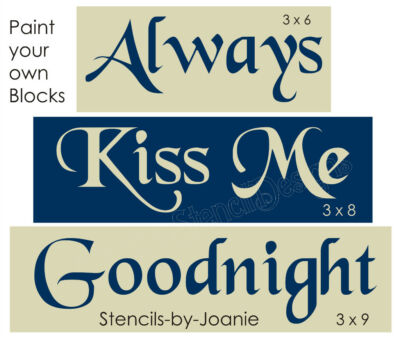 Primitive Country Love STENCIL Always Kiss Me Goodnight Home Decor Block Signs