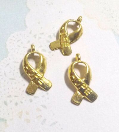 Cancer Awareness Charms-Awareness Ribbon Charms-Large Lot 25,50,100pc Gold