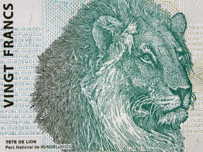 LIONS on MONEY 2003 CONGO 20 FRANCS BANKNOTE GLOBAL CURRENCY Authentic Mint