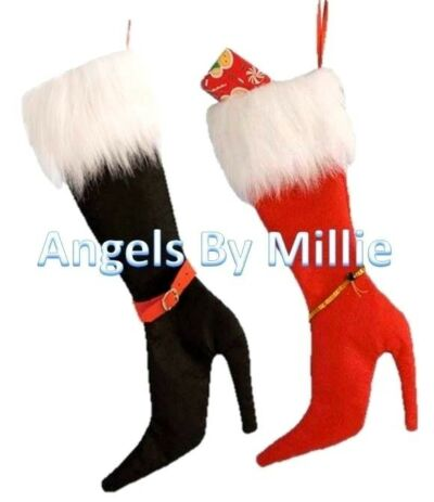 Christmas Stocking Cat Charity High Heel Shoe Holiday Decoration Red Black Fur