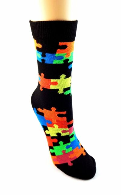 Puzzle piece socks crew black color jigsaw pieces Autism Awareness Everbright