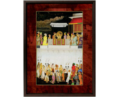 Framed Canvas:Shah Jahan Honors Dara Shikoh. RIGHT Panel. Sehra -12x15 -Mughal