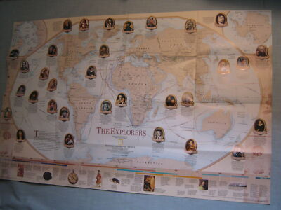 THE EXPLORERS EXPLORATION MAP 1998 National Geographic World Maritime History