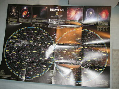 THE HEAVENS + STAR CHARTS ORION NEBULA MAP National Geographic December 1995