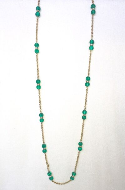 J CREW Green Bead + Crystal Long Gold Necklace New $55