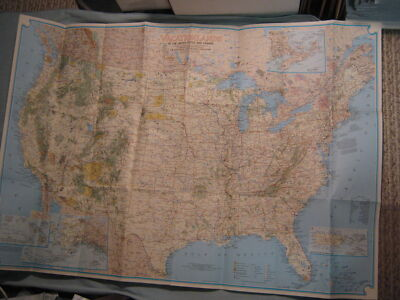 VINTAGE VACATIONLANDS MAP OF UNITED STATES & SO. CANADA National Geographic 1966