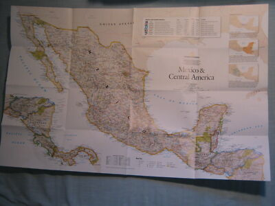 MEXICO & CENTRAL AMERICAL POLITICAL & PHYSICAL MAP National Geographic 2007 MINT