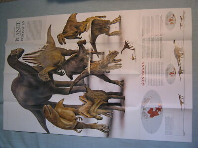 PLANET OF THE DINOSAURS MAP/POSTER/SUPPLEMENT National Geographic 2007 MINT
