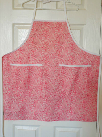 New Handcrafted Women's Chef Apron Breast Cancer Blossoms of Hope 20% Donated