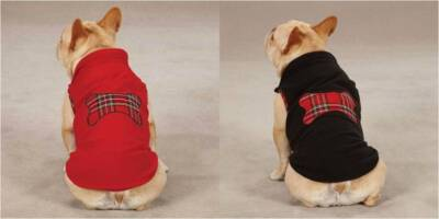 RED or BLACK FLEECE BONE TARTAN DOG PUPPY VEST COAT Size:Miscellaneous