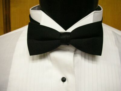 Tuxedo PreTied Black Bow Tie Satin Adjustable Brand New