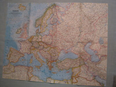 VINTAGE EUROPE MAP National Geographic June 1962 MINT