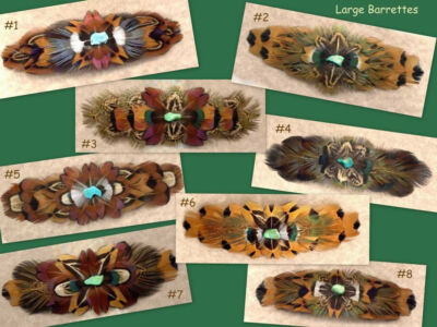 CUSTOM Real Pheasant Feather Barrette - Large - COOL!!!