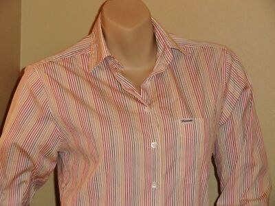 Women's Faconnable Cotton Blend Multi-Color Stripe Button Down Shirt Sz S