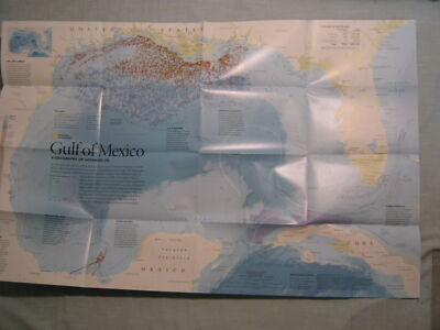 GULF OF MEXICO GEOGRAPHY OF OFFSHORE OIL MAP National Geographic 2010 MINT