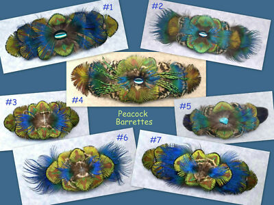 CUSTOM Peacock Feather Barrette - Large - ELEGANT!!! ~ Handmade in USA
