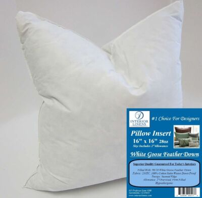 "16"" 28oz. Pillow Insert: White Goose Feather Down - 2"" Oversized & Firm Filled"