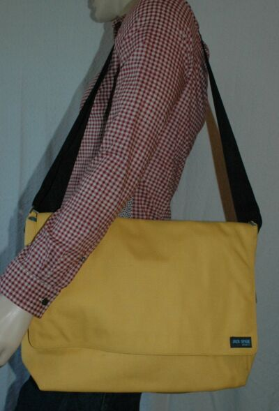 Jack Spade field bag messenger perfect 4 computer laptop nylon canvas yellow nwt