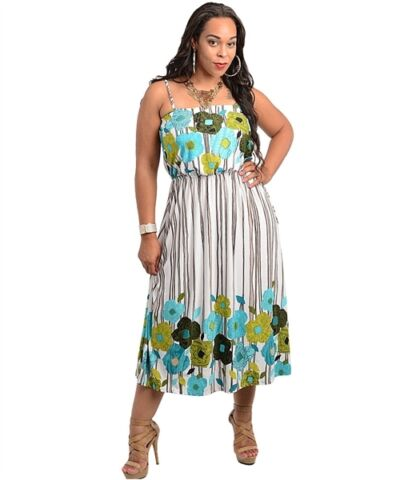 WOMENS PLUS SIZE  DRESS MULTI PRINT MAXI DRESS CURVY CLOTHING