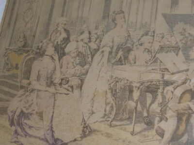 "ANTIQUE FRENCH WOVEN TAPESTRY PARLOR SCENE* SIGNED MARCHETTI * 28"" x 42"""