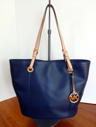 MICHAEL KORS Pebbled Leather Jet Set Large Navy BlueTote  NWT $278