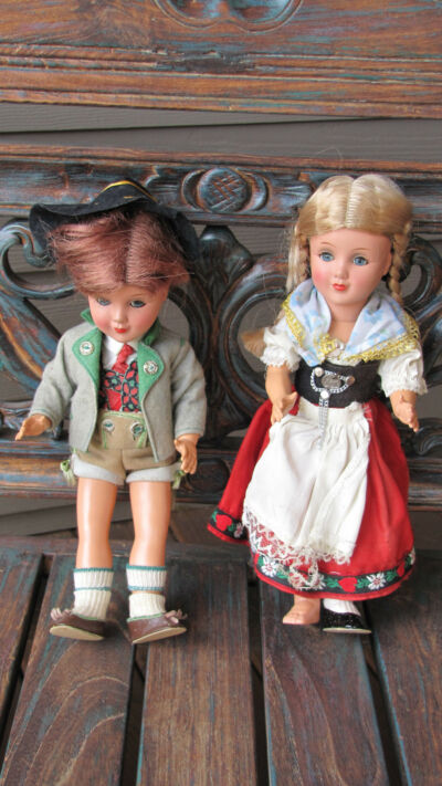 "Vintage German HD Doll Boy &  Girl Pair  Hansel & Gretel Costumes 12 "" tall"