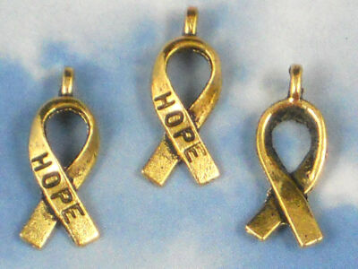 100 Hope Ribbon Gold Charms - For the Cure - Give One to Everyone P022