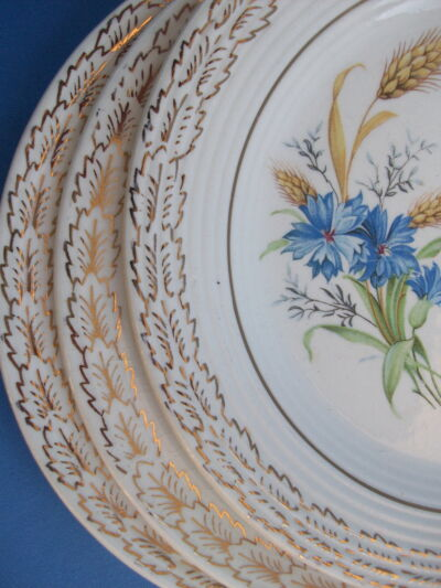 4 LIMOGES Vintage DESERT/BREAD PLATES Bachelor Button Wheatfield 22K GOLD Leaves