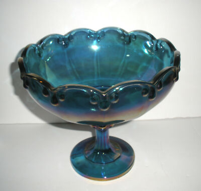 Vintage Blue Carnival Glass Huge Compote 1970-1992 Indiana Glass Teardrop Heavy