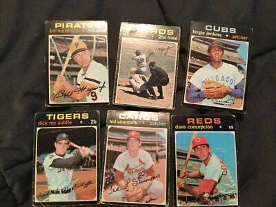 50 Different 1971 Topps Baseball Cards - Fair Condition